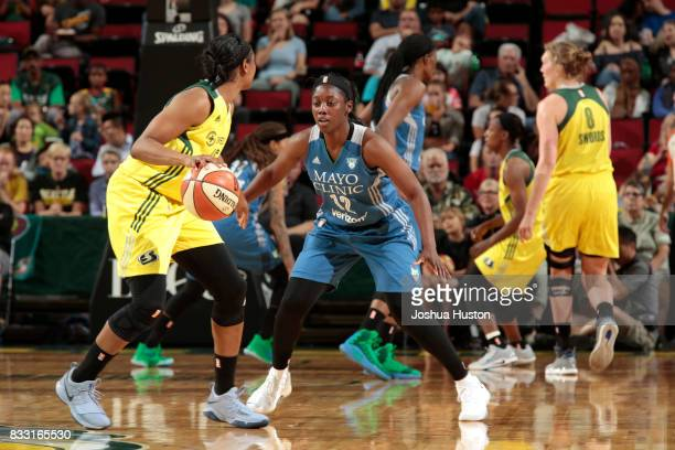 Alexis Jones of the Minnesota Lynx plays defense against the Seattle Storm on August 16 2017 at Key Arena in Seattle Washington NOTE TO USER User...