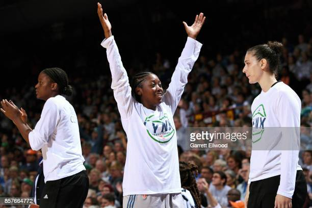 Alexis Jones of the Minnesota Lynx reacts during the game against the Los Angeles Sparks in Game Five of the 2017 WNBA Finals on October 4 2017 in...