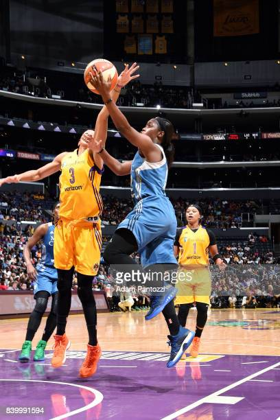 Alexis Jones of the Minnesota Lynx shoots a lay up during the game against the Los Angeles Sparks during a WNBA game on August 27 2017 at STAPLES...