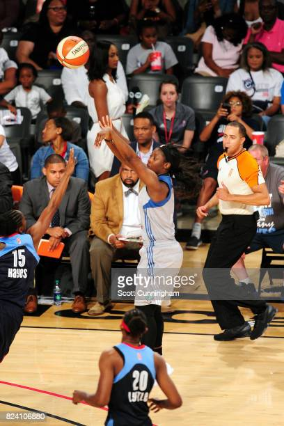 Alexis Jones of the Minnesota Lynx shoots the ball during the game against the Atlanta Dream during at WNBA game on July 28 2017 at Hank McCamish...