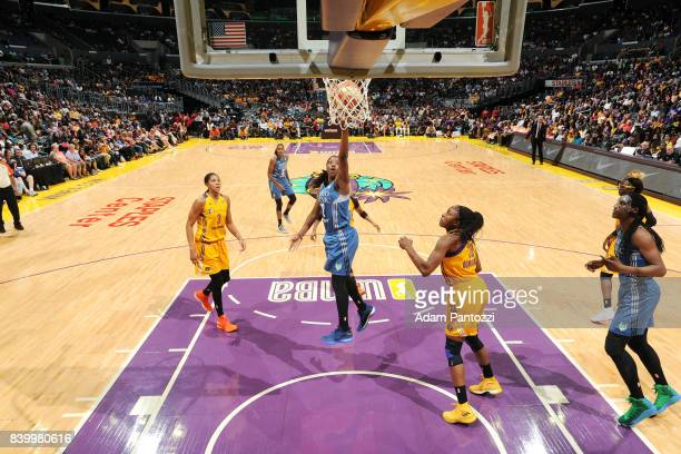 Alexis Jones of the Minnesota Lynx shoots the ball during the game against the Los Angeles Sparks during a WNBA game on August 27 2017 at STAPLES...