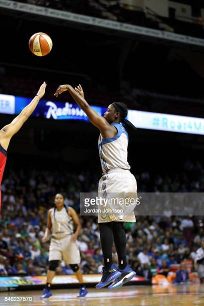 Alexis Jones of the Minnesota Lynx shoots the ball during the game against the Washington Mystics in Game One of the Semifinals during the 2017 WNBA...