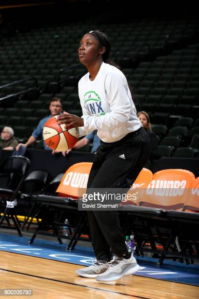 Alexis Jones of the Minnesota Lynx warms up before the game against the Washington Mystics during WNBA game on June 23 2017 at Xcel Energy Center in...