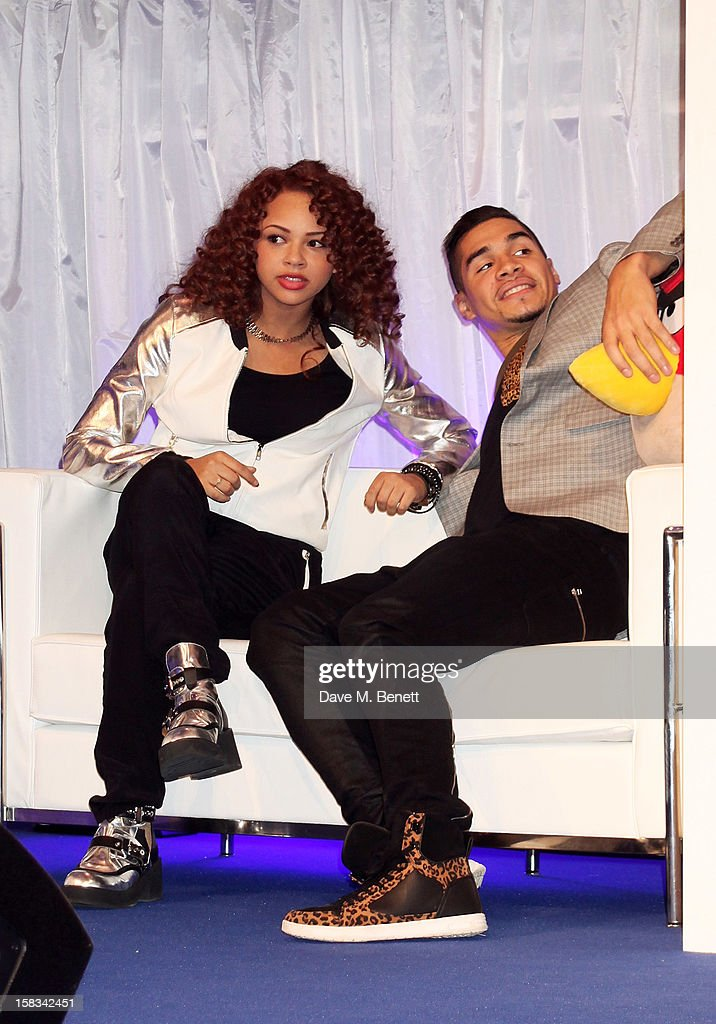 Alexis Jordan (L) and Louis Smith attend the Samsung Smart TV Angry Birds Party at Westfield Stratford City on December 13, 2012 in London, England.