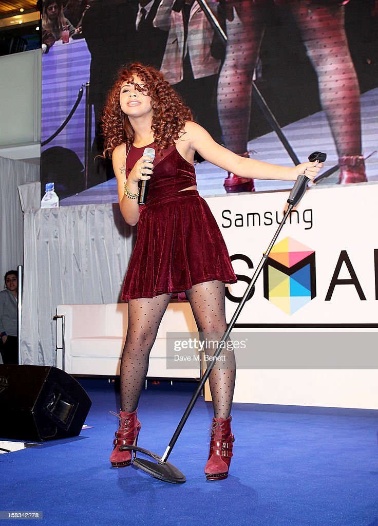 Alexis Jordan performs at the Samsung Smart TV Angry Birds Party at Westfield Stratford City on December 13, 2012 in London, England.
