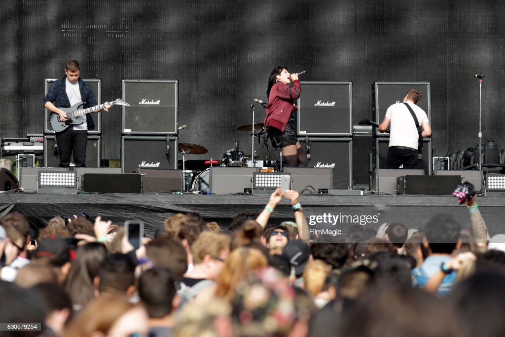 Alexis Krauss and Derek Edward Miller of Sleigh Bells performs on the Twin Peaks Stage during the 2017 Outside Lands Music And Arts Festival at Golden Gate Park on August 11, 2017 in San Francisco, California.