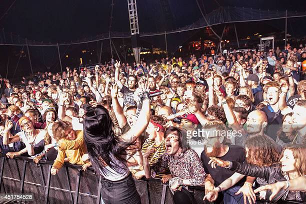 Alexis Krauss from Sliegh Bells performs at the Roskilde Festival 2014 on July 5 2014 in Roskilde Denmark