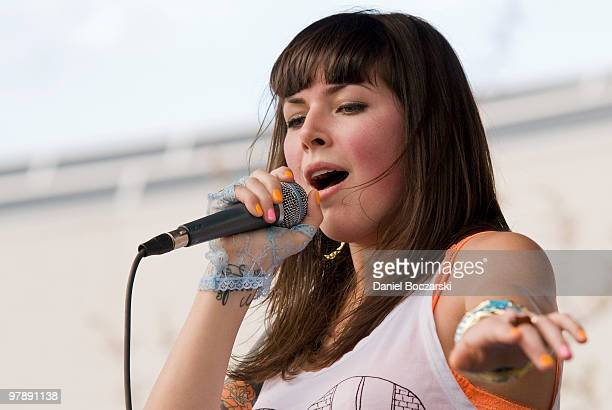 Alexis Krauss of Sleigh Bells performs at Carniville during the third day of SXSW on March 19 2010 in Austin Texas