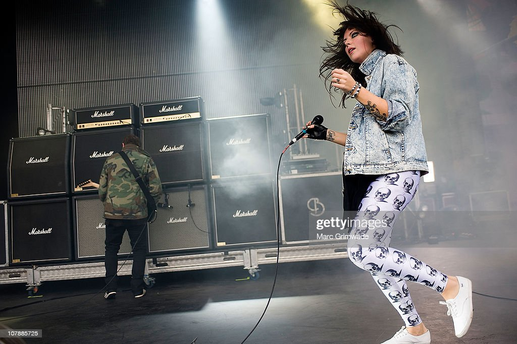 Alexis Krauss of Sleigh Bells performs on stage during the 2011 Sunset Sounds music festival at the Brisbane Botanical Gardens and River Stage on January 5, 2011 in Brisbane, Australia.