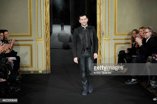 Alexis Mabille acknowledges the audience during the Alexis Mabille show as part of Paris Fashion Week Haute Couture Spring/Summer 2015 on January 26...