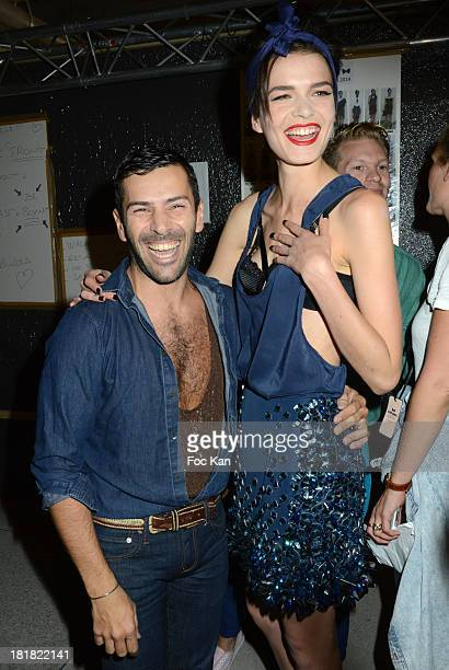 Alexis Mabille and a model dressed by Alexis Mabille attend the Alexis Mabille Show Backstage As Part of the Paris Fashion Week Womenswear...