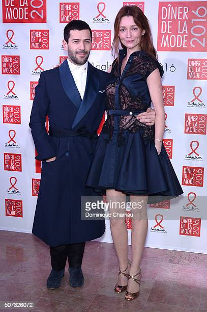 Alexis Mabille and Audrey Marnay attend the Sidaction Gala Dinner 2016 as part of Paris Fashion Week on January 28 2016 in Paris France