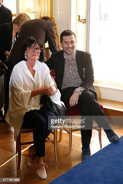 Alexis Mabille and his mother attend French minister of Culture and Communication Fleur Pellerin gives Medal of 'Knight of Arts and Letters' to...