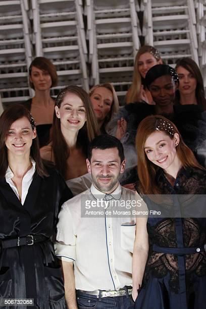Alexis Mabille walks the runway during the Alexis Mabille Haute Couture Spring Summer 2016 show as part of Paris Fashion Week on January 25 2016 in...