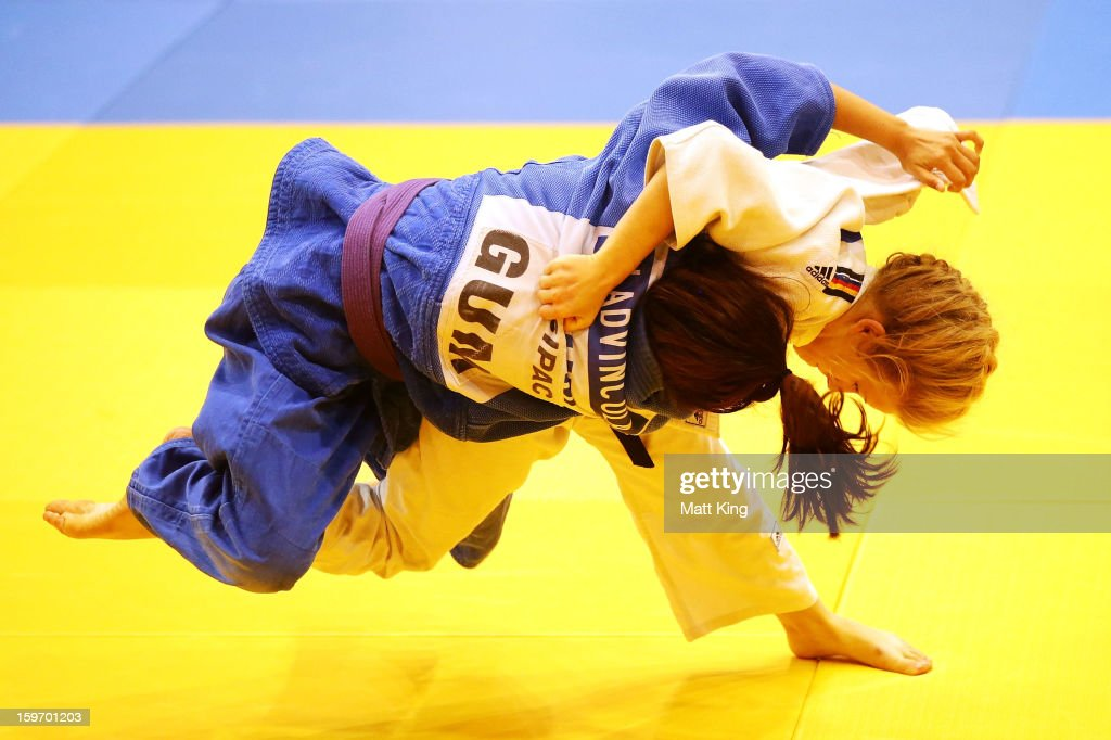 Alexis Mason (R) of Australia competes against Chelzea Laserna (L) of Oceania in the Women's 48kg Judo during day four of the Australian Youth Olympic Festival at Sydney Olympic Park Sports Halls on January 19, 2013 in Sydney, Australia.