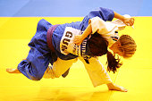 Alexis Mason of Australia competes against Chelzea Laserna of Oceania in the Women's 48kg Judo during day four of the Australian Youth Olympic...