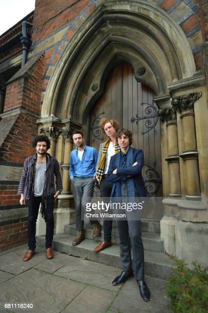 Alexis Nunez Peter Denton Hugh Harris and Luke Pritchard of The Kooks pose for portrait before addressing The Cambridge Union on May 9 2017 in...