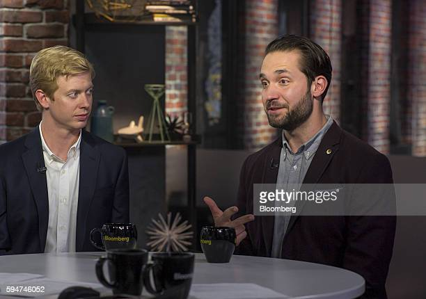 Alexis Ohanian chairman and cofounder of Reddit Inc right speaks as Steve Huffman chief executive officer and cofounder of Reddit Inc listens during...