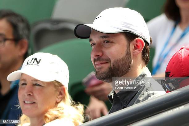 Alexis Ohanian fiance of Serena Williams of the United States looks on before her fourth round match against Barbora Strycova of the Czech Republic...