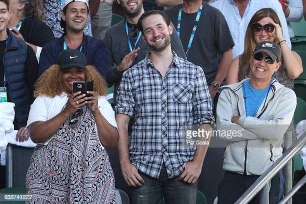 Alexis Ohanian fiance of Serena Williams of the United States smiles after her semifinal victory against Mirjana LucicBaroni of Croatia on day 11 of...