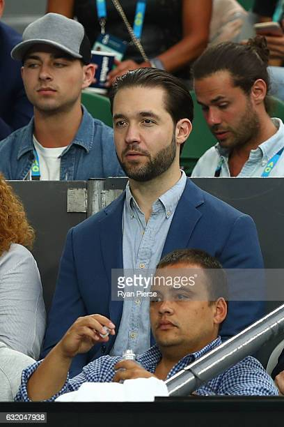 Alexis Ohanian fiance of Serena Williams of the United States watches her second round match against Lucie Safarova of the Czech Republic on day four...