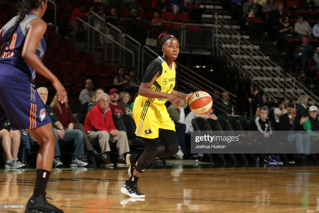 Alexis Peterson #2 of the Seattle Storm handles the ball during a game against the Phoenix Mercury on May 3, 2017 at Key Arena in Seattle, Washington.