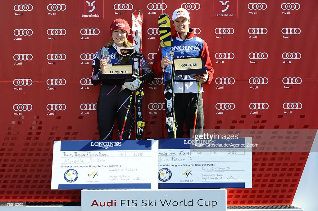 Alexis Pinturault of France and Mikaela Shiffrin of the USA win the prizes as the Longines Rising Ski Stars during the Audi FIS Alpine Ski World Cup Finals on March 14, 2014 in Lenzerheide, Switzerland.