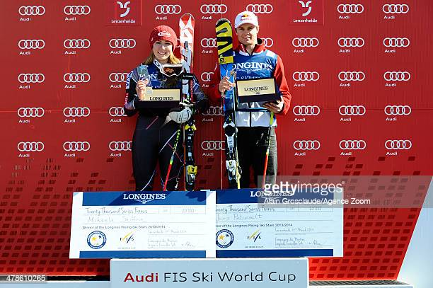 Alexis Pinturault of France and Mikaela Shiffrin of the USA win the prizes as the Longines Rising Ski Stars during the Audi FIS Alpine Ski World Cup...