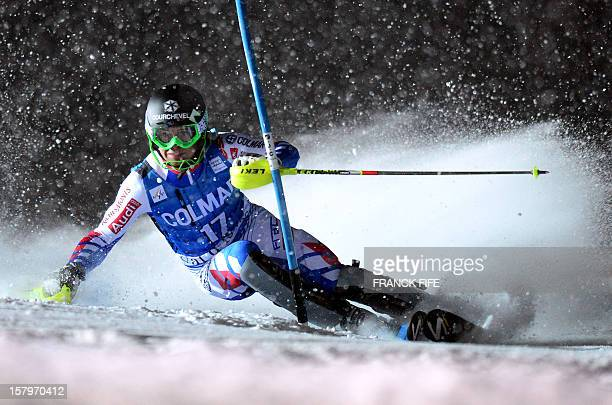 Alexis Pinturault of France clears a gate in his second run at the FIS Alpine World Cup Men's Slalom on December 8 2012 in Val d'Isere French Alps...