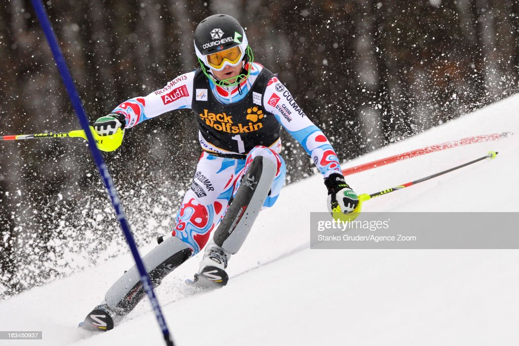Alexis Pinturault of France competes during the Audi FIS Alpine Ski World Cup Men's Slalom on March 10, 2013 in Kranjska Gora, Slovenia.