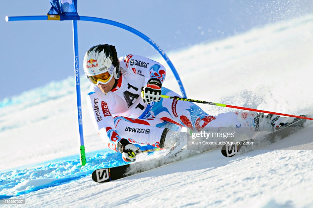 Alexis Pinturault of France competes during the Audi FIS Alpine Ski World Cup Men's Giant Slalom on October 27, 2013 in Soelden, Austria.