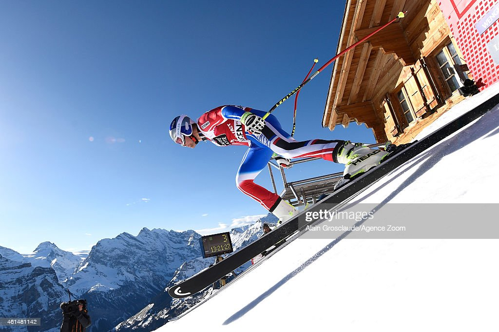 Alexis Pinturault of France competes during the Audi FIS Alpine Ski World Cup Men's Downhill Training on January 13 2015 in Wengen Switzerland