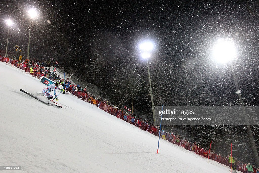 Alexis Pinturault of France competes during the Audi FIS Alpine Ski World Cup Men's Slalom on January 28 2014 in Schladming Austria