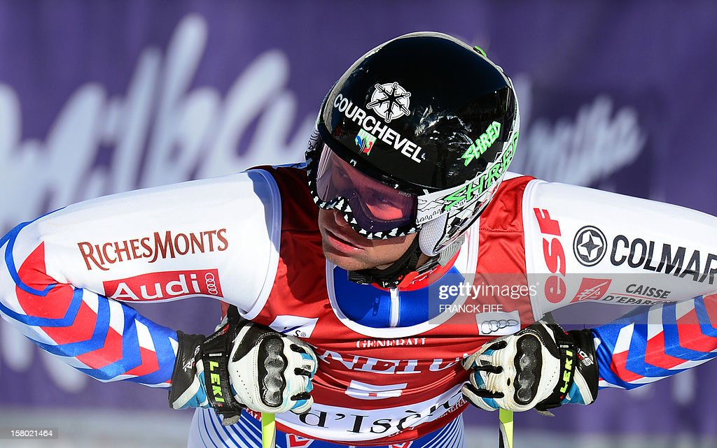 Alexis Pinturault of France stands in the finish area after the FIS Alpine World Cup Men's Slalom Giant on December 9, 2012 in Val d'Isere, French Alps. Marcel Hirscher of Austria won the race ahead Stephan Lutz of Germany and Ted Ligety of Us. Alexis Pinturault of France finished 28.