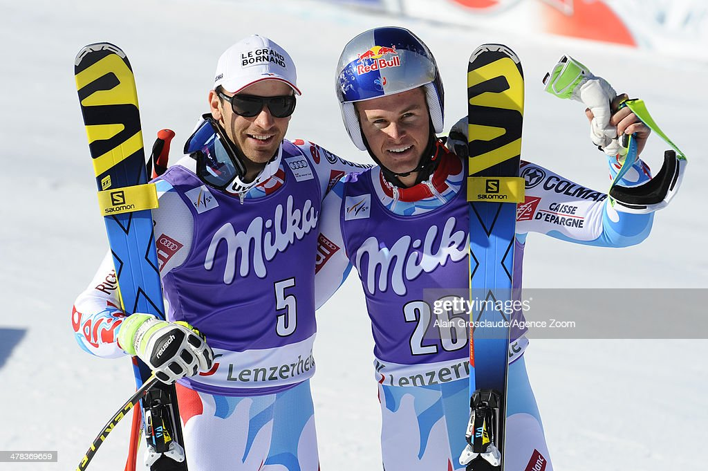Alexis Pinturault (R) of France takes 1st place and Thomas Mermillod-Blondin of France takes 2nd place during the Audi FIS Alpine Ski World Cup Finals Men's Super-G on March 13, 2014 in Lenzerheide, Switzerland.