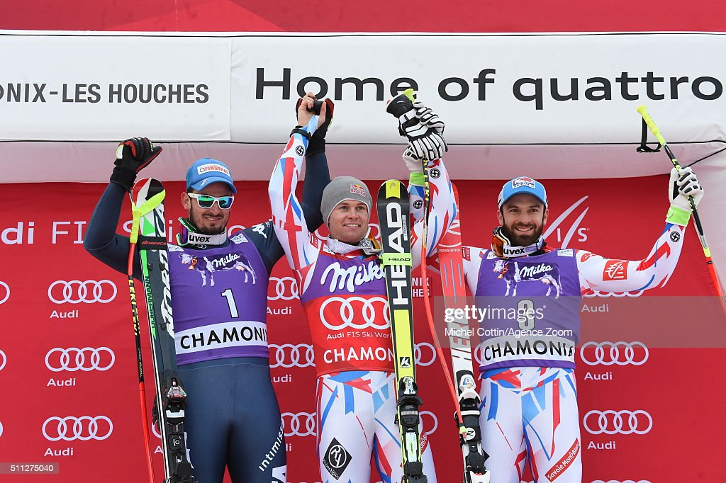 Alexis Pinturault of France takes 1st place, Dominik Paris of Italy takes 2nd place, Thomas Mermillod-Blondin of France takes 3rd place during the Audi FIS Alpine Ski World Cup Men's Super Combined on February 19, 2016 in Chamonix, France.