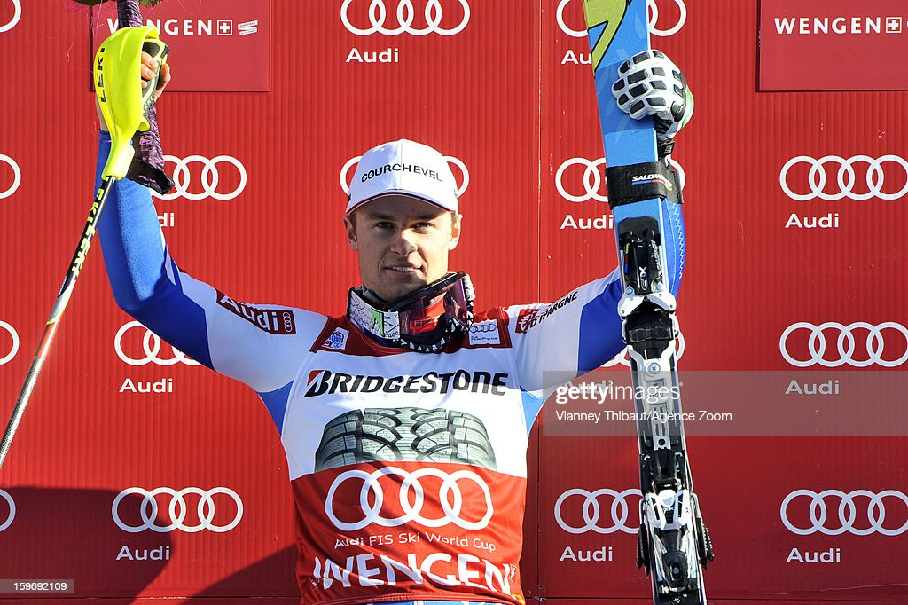Alexis Pinturault of France takes 1st place during the Audi FIS Alpine Ski World Cup Men's Super Combined on January 18, 2013 in Wengen, Switzerland.