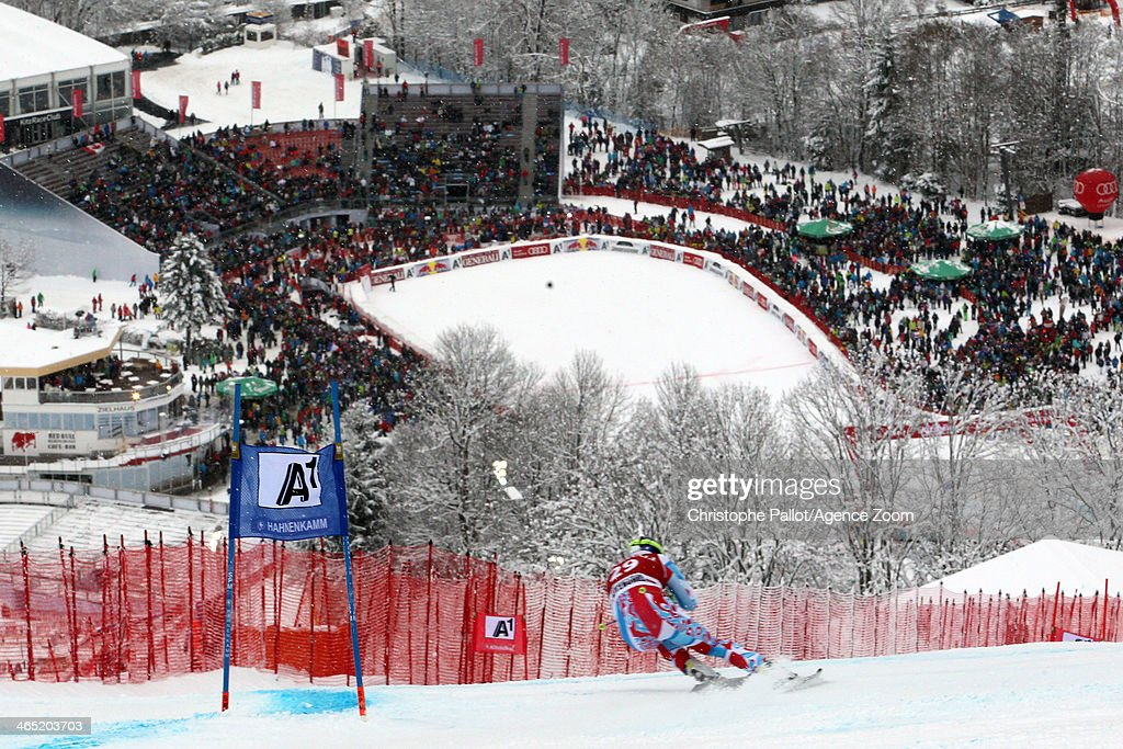 Alexis Pinturault of France takes 1st place during the Audi FIS Alpine Ski World Cup Men's Super Combined on January 26 2014 in Kitzbuehel Austria