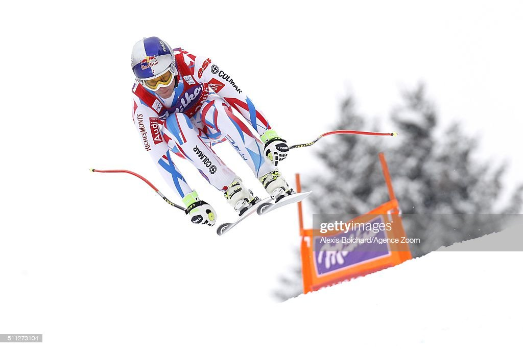 Alexis Pinturault of France takes 1st place during the Audi FIS Alpine Ski World Cup Men's Super Combined on February 19, 2016 in Chamonix, France.