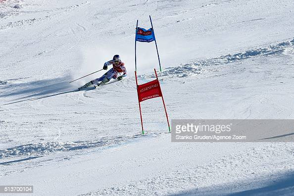 Alexis Pinturault of France takes 1st place during the Audi FIS Alpine Ski World Cup Men's Giant Slalom on March 04 2016 in Kranjska Gora Slovenia