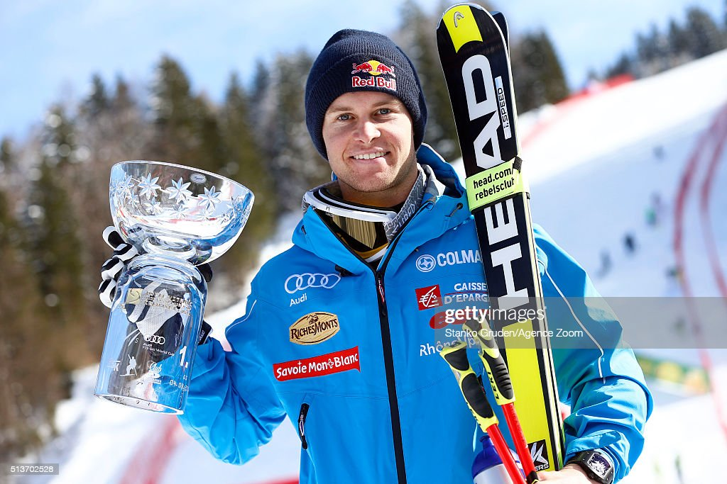 Alexis Pinturault of France takes 1st place during the Audi FIS Alpine Ski World Cup Men's Giant Slalom on March 04, 2016 in Kranjska Gora, Slovenia.