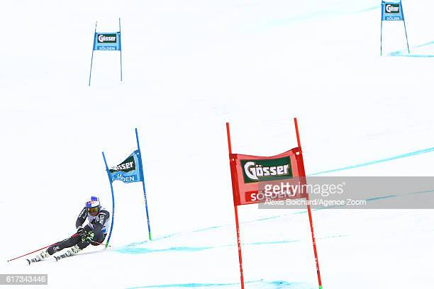 Alexis Pinturault of France takes 1st place during the Audi FIS Alpine Ski World Cup Men's Giant Slalom on October 23 2016 in Soelden Austria