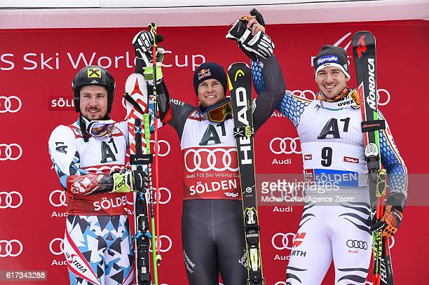 Alexis Pinturault of France takes 1st place Marcel Hirscher of Austria takes 2nd place Felix Neureuther of Germany takes 3rd place during the Audi...