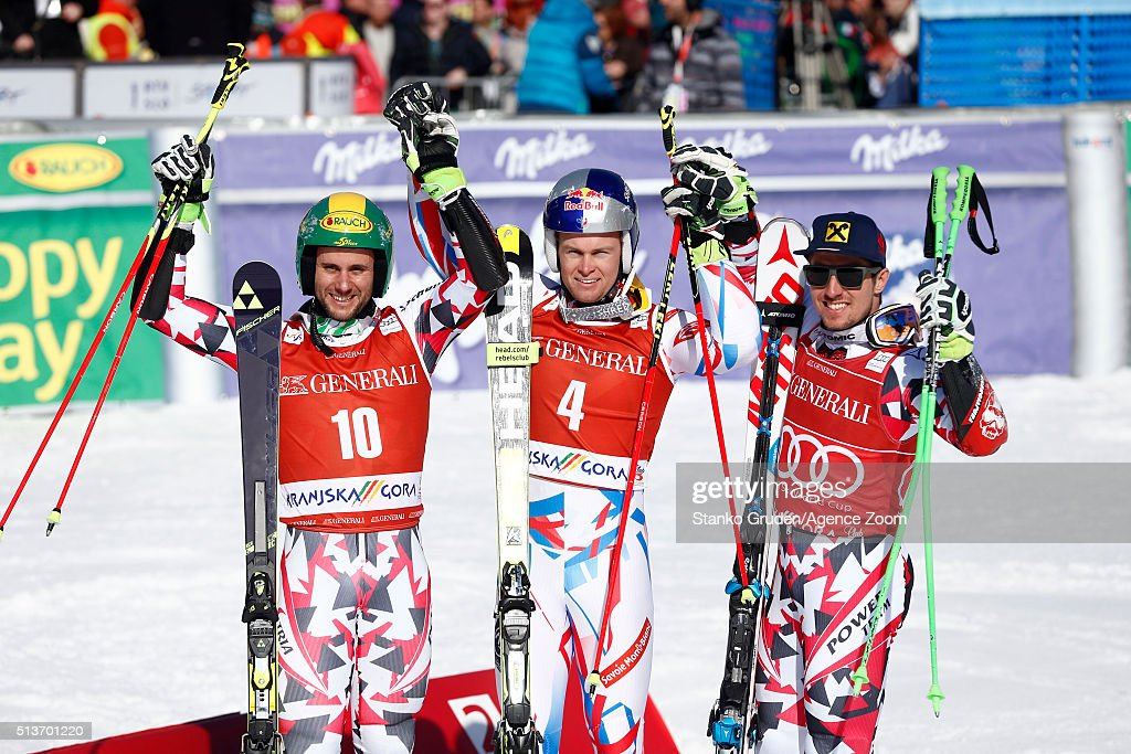 Alexis Pinturault of France takes 1st place Philipp Schoerghofer of Austria takes 2nd place Marcel Hirscher of Austria takes 3rd place during the...