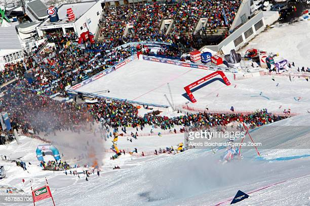 Alexis Pinturault of France takes 3rd place during the Audi FIS Alpine Ski World Cup Men's Giant Slalom on October 26 2014 in Soelden Austria