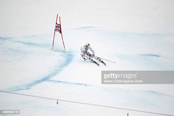 Alexis Pinturault of France takes 3rd place during the Audi FIS Alpine Ski World Cup Men's Giant Slalom on February 02 2014 in St Moritz Switzerland
