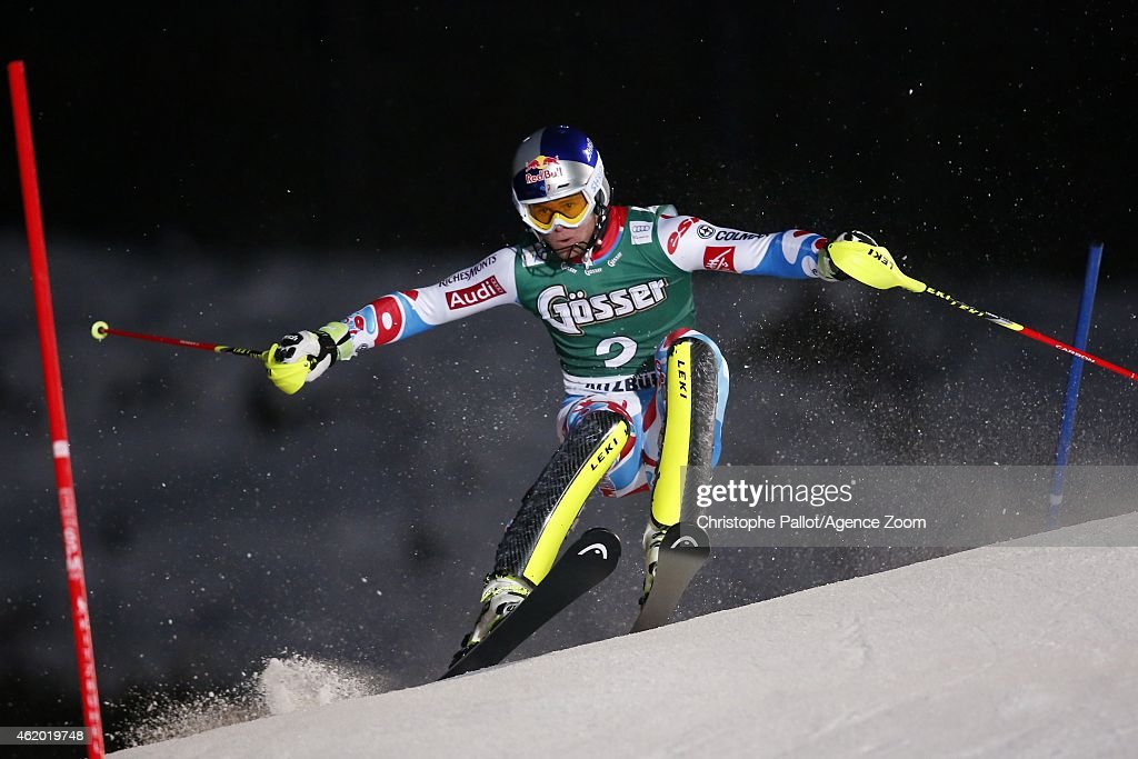 Alexis Pinturault of France takes the 1st place during the Audi FIS Alpine Ski World Cup Men's Super-G on January 23, 2015 in Kitzbuehel, Austria.