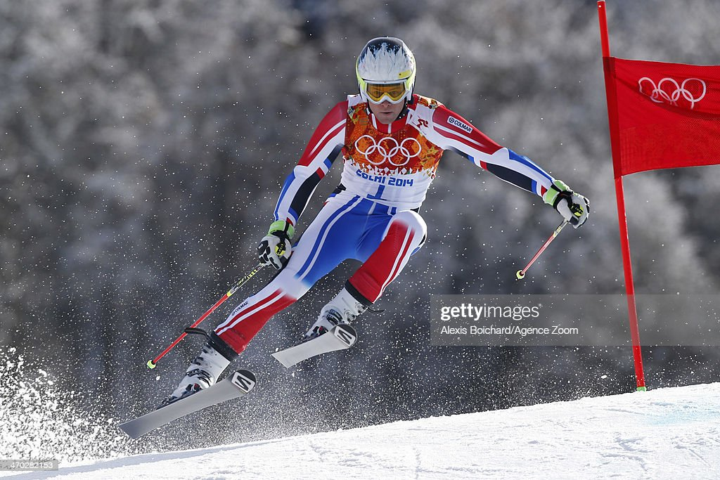 Alexis Pinturault of France wins the bronze medal during the Alpine Skiing Men's Giant Slalom at the Sochi 2014 Winter Olympic Games at Rosa Khutor Alpine Centre on February 19, 2014 in Sochi, Russia.