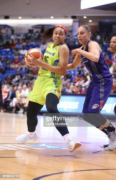 Alexis Prince of the Phoenix Mercury handles the ball against Diana Taurasi of the Phoenix Mercury on August 10 2017 at College Park Center in...