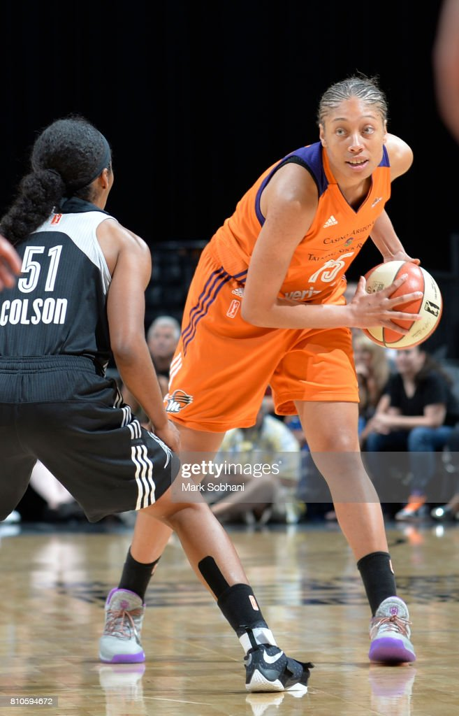 Alexis Prince #15 of the Phoenix Mercury handles the ball against the San Antonio Stars on July 7, 2017 at the AT&T Center in San Antonio, Texas.